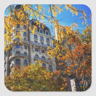 New York Cityoberes Westseiten-Wohnungs-Gebäude Quadratischer Aufkleber