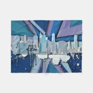 New- York CitySkyline | blaues 3D Fleecedecke