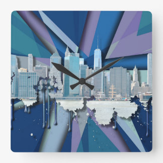 New- York CitySkyline | blaues 3D Quadratische Wanduhr