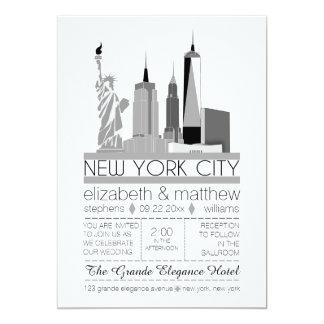 New- York CitySkyline-Hochzeit 12,7 X 17,8 Cm Einladungskarte