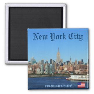 New- York CitySkylinephotographiemagnet Quadratischer Magnet