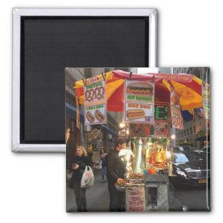New- York CityWürstchen-Stand-Magnet Quadratischer Magnet