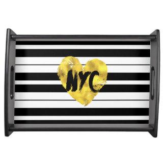New York, Gold mit Schwarzweiss-Streifen Serviertablett