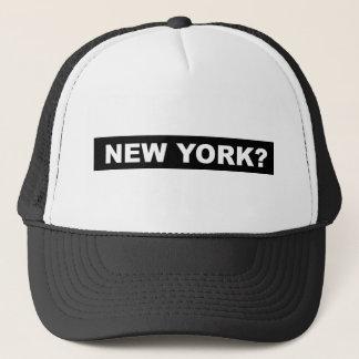 New York? Hut - Weiß auf Schwarzem Truckerkappe
