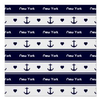 New York kreuzt Muster Poster