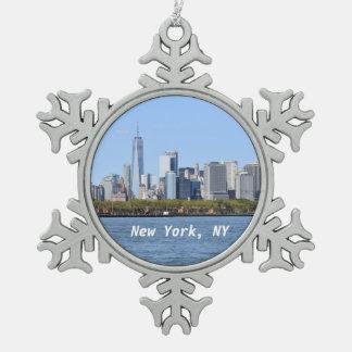 New York, NY Schneeflocke-Verzierung Schneeflocken Zinn-Ornament