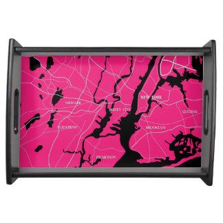 New- York, rosa und SchwarzeStaats-Karte Tablett