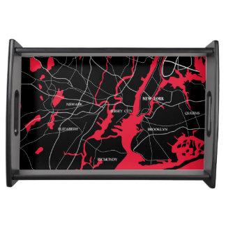 New- York, Rote und SchwarzeStaats-Karte Serviertablett