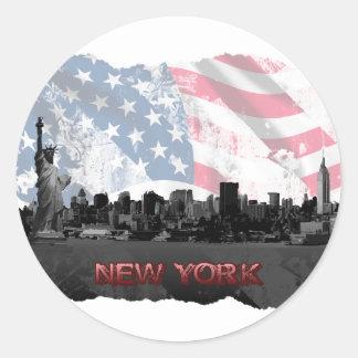 New York Runder Aufkleber