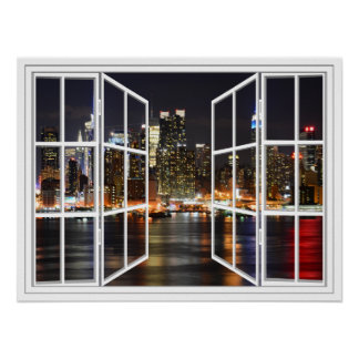 New York Scheiben-offenes Fenster-dem Plakat an