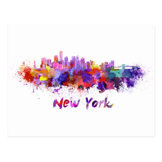 New York skyline im Watercolor Postkarte