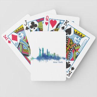 New York Skyline Watercolor blue v05 Bicycle Spielkarten