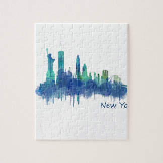 New York Skyline Watercolor blue v05 Puzzle