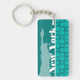 New York; Türkis-Quadrate; Retro Schlüssel Anhänger