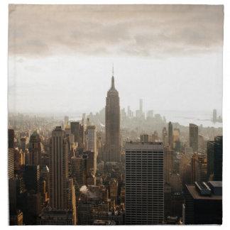 New- YorkSkyline - Dämmerung - Grau Stoffserviette