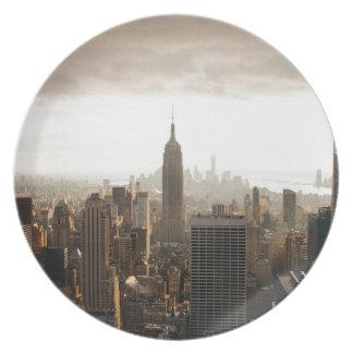 New- YorkSkyline - Dämmerung - Grau Teller