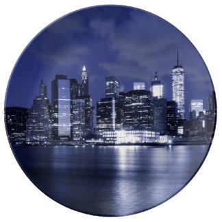 New- YorkSkyline gebadet im Blau Teller