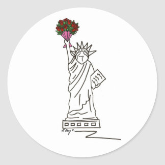 New Yorkvalentine-Freiheitsstatue Runder Aufkleber