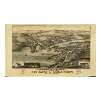 Newcastle u. Damariscotta Maine 1878 panoramische Poster