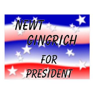 Newt Gingrich für Präsidenten Fading Red White u. Postkarte