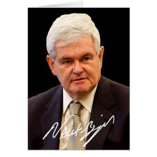Newt Gingrich mit Kopie seiner Unterschrift Karte