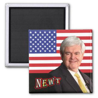 NEWT u. US-Flagge Quadratischer Magnet