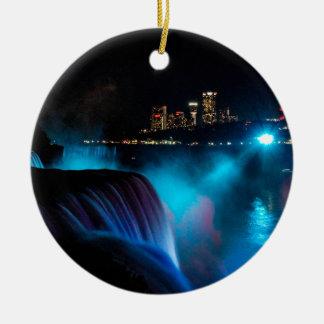 Niagara Falls nachts Rundes Keramik Ornament