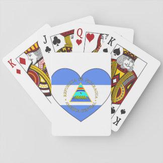 Nicaragua-Flaggen-Herz Spielkarten