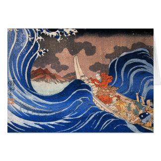 Nichiren beruhigt einen Sturm in Kakuda, Kuniyoshi Karten