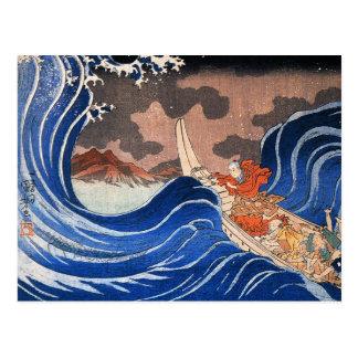 Nichiren beruhigt einen Sturm in Kakuda, Kuniyoshi Postkarten