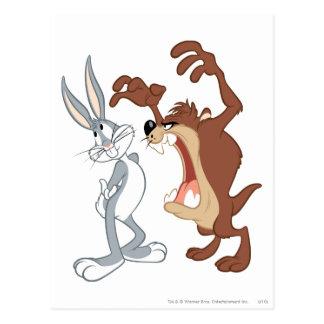 Nicht einmal zurückschrecken _TAZ™ und Bugs Bunny Postkarte