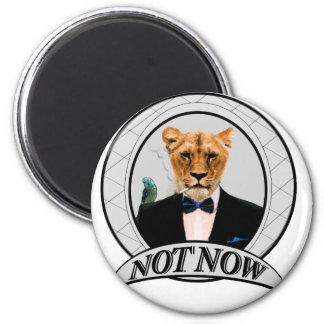 Nicht jetzt - Löwe Runder Magnet 5,1 Cm