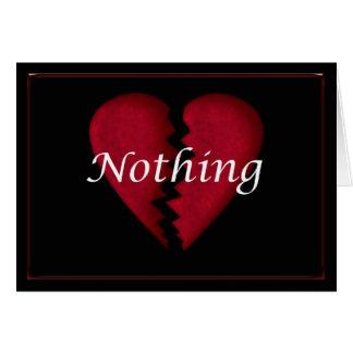 Nichts, defektes Herz, gebrochene herzige traurige Karte