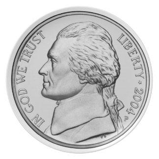 Nickel-großer Teller
