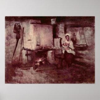 Nicolae Grigorescu - inländischer Ofen in Rucar Plakat