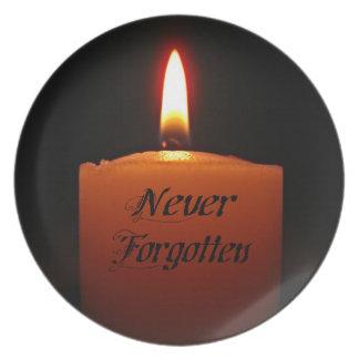 Nie vergessene Erinnerungs-Kerzen-Flamme Melaminteller