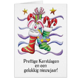 Niederländisch - WeihnachtsStrumpf mit Kaninchen Karte