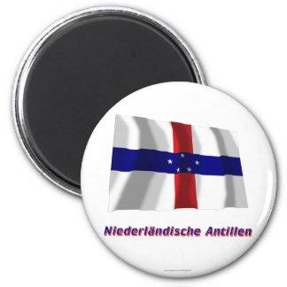 Niederländische Antillen Fliegende Flagge MIT-Name Runder Magnet 5,7 Cm
