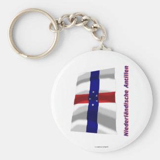 Niederländische Antillen Fliegende Flagge MIT-Name Standard Runder Schlüsselanhänger