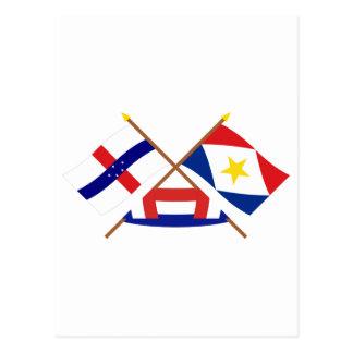 Niederländische Antillen und Saba gekreuzte Postkarte