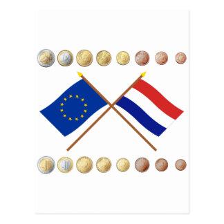 Niederländische Euros und EU u. niederländische Postkarte
