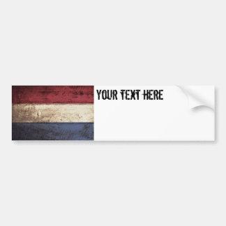 Niederländische Flagge auf altem hölzernem Korn Autoaufkleber