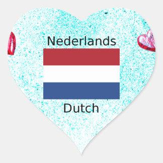 Niederländische Flagge und niederländischer Herz-Aufkleber