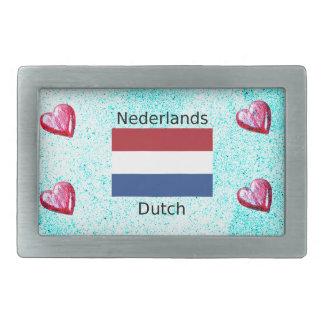 Niederländische Flagge und niederländischer Rechteckige Gürtelschnalle