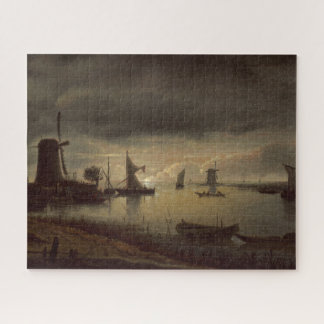 Niederländische Fluss-Szene mit Windmühle durch Puzzle