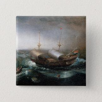 Niederländische Handelsschiffe und ein Smalschip Quadratischer Button 5,1 Cm