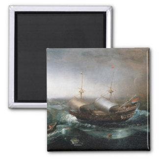 Niederländische Handelsschiffe und ein Smalschip Quadratischer Magnet