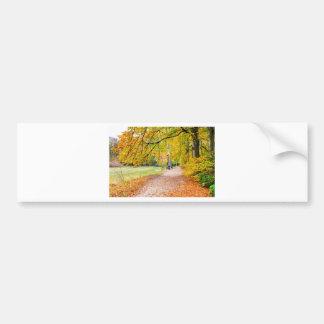 Niederländische Herbstlandschaft mit Fußweg und Autoaufkleber