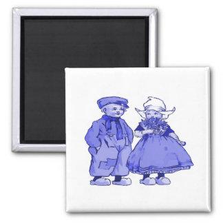 Niederländische Kinder im Blau Quadratischer Magnet