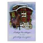 Niederländische Weihnachtskarte - Pferd und alter Grußkarten
